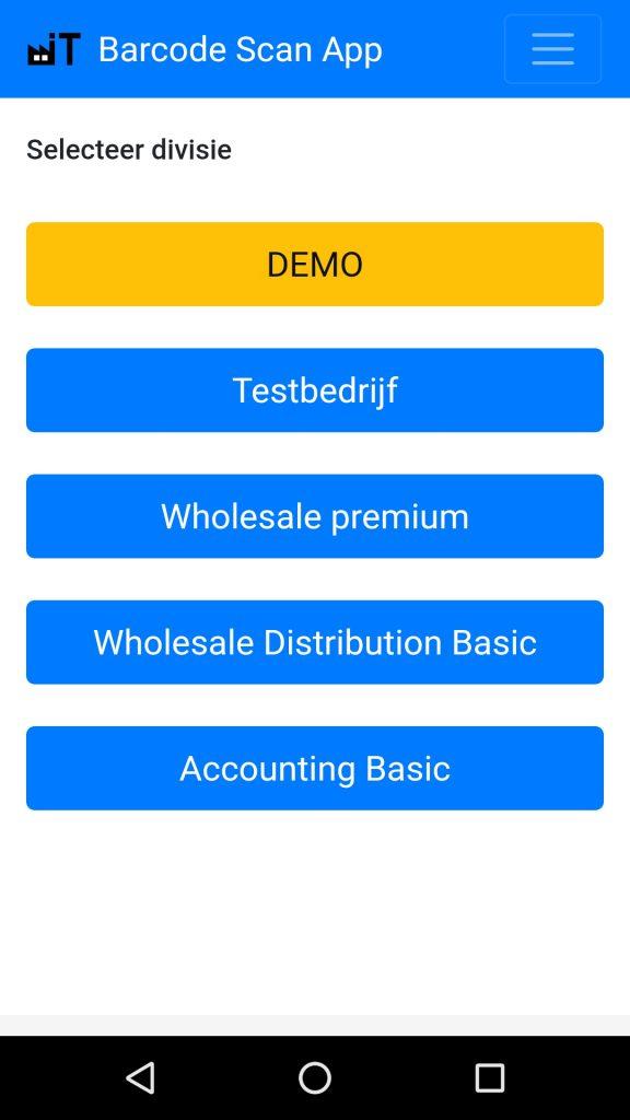 Exact Online Barcode Scanner app menu