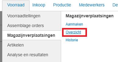 Exact Online menu verplaatsen