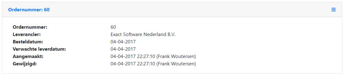 Inkoop order details